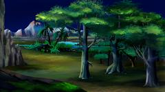 Acacia Trees in Africa. Night View - stock illustration