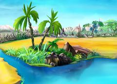 Two Palm Trees in the Desert Oasis. Day. - stock illustration
