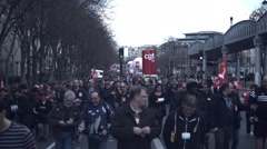Rally / protest against new el Khomri law, Paris Stock Footage