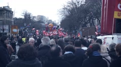 Crowded rally / protest against new el Khomri law, Paris Stock Footage