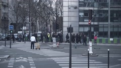 Riot police lined up for protest against new el Khomri law, Paris Stock Footage