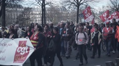 Mass demonstration for the El Khomri Protest in Paris Stock Footage