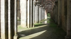 Aisle San Galgano Abbey Stock Footage