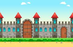 Repeateble castle on the sides - stock illustration
