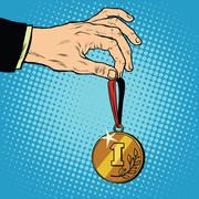 Awarded a medal the first place winner champion Stock Illustration