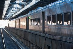 Stationary train, Hoboken, New Jersey, USA Stock Photos