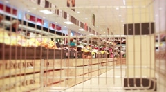 Shopping Cart In Grocery Store With of Fruits And Vegetables Stock Footage