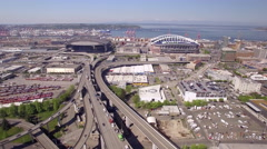 Seattle, WA 4-20-16: Aerial of Safeco Field with Century Link Stadium Stock Footage