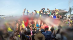 Songkran Festival.  Fire Vehicle with Crazy Crowd. Water Fight on Street. Stock Footage