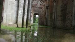Floor aisle muddy San Galgano Abbey Stock Footage