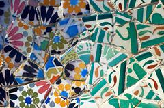 Multicoloured and cracked tiles in mosaic, Barcelona, Spain Stock Photos