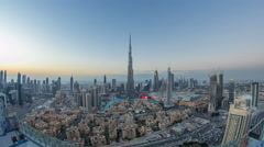 Dubai Downtown day to night timelapse view from the top in Dubai, United Arab Stock Footage