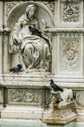 Architectural detail, Fountain of Joy, Siena, Italy Stock Photos