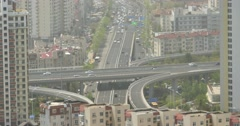 4k urban city busy traffic jams,QingDao,china.business building,air pollution. - stock footage