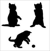 silhouette of an amusing kitten vector - stock illustration