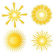 vector drawing sun - stock illustration