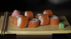 Food, sushi rolls: Sushi rolls set Stock Footage