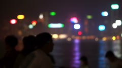 Tourist landmark Blur of World famous skyline Hong Kong harbour at night Stock Footage