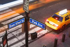 High angle view of Park Avenue street sign and pedestrian crossing New York Kuvituskuvat