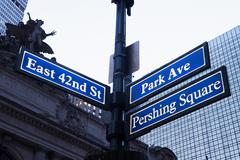 East 42nd St and Park Ave street signs, New York City, USA Stock Photos