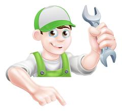 Man Holding Spanner and Pointing - stock illustration
