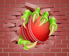 Claw with Cricket Ball Breaking Through Brick Wall - stock illustration