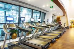 Decoration and equipment in modern gym Stock Photos