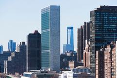 United Nations building in New York city - stock photo