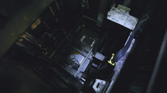Lift Moves Down. Mechanism of the Back Side of the Elevator. Lift Shaft Stock Footage