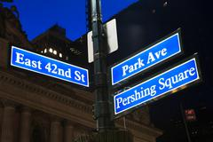 East 42nd Street and Park Avenue signs, New York City, USA Stock Photos