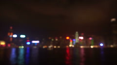 Tourist landmark Blur of World famous skyline Hong Kong harbour at night - stock footage