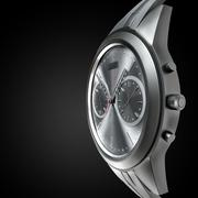 Stylish hand watch. Chrome on a black background - stock illustration