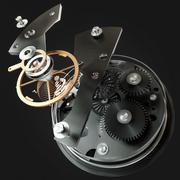 3d watch mechanism on black background. High resolution - stock illustration