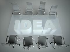 Empty workspace on glass PLAN table. Top view. High resolution render. Busine - stock illustration