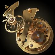 clock mechanism made in the technique of toning. Very shallow depth of field. - stock illustration