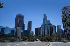 Modern skyscrapers in downtown Los Angeles, USA Stock Photos