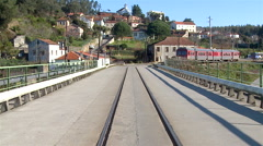 A bridge with train rails in Sever do Vouga, Portugal. Stock Footage