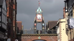 Eastgate and Eastgate Clock in Chester, Cheshire, England circa April 2016 Stock Footage