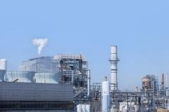 Smoke from refinery chimney, Port of Los Angeles, California, USA Stock Photos