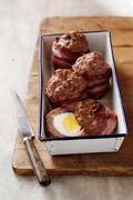 Homemade scotch eggs - stock photo