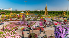 Dubai miracle garden timelapse with over 45 million flowers in a sunny day - stock footage