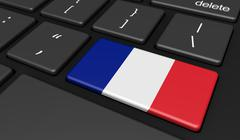 French Flag Computer Button Key - stock illustration