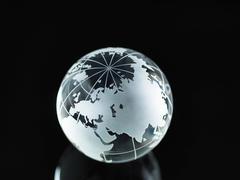 Glass Globe illustrating Asia, India, China, Russia, Africa, Saudi Arabia, - stock photo