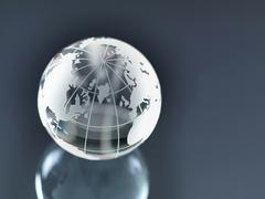 Glass Globe illustrating North and South America, Europe, Russia and Africa - stock photo