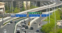 4k urban busy traffic jams on the overpass,QingDao,china.air pollution. Stock Footage