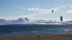 Kiteboarding on the North Sea. - stock footage