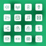 line web icon set on white rounded rectangle - stock illustration