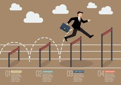 Businessman jumping over higher hurdle infographic Stock Illustration