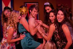 Young women at hen party with male stripper Stock Photos
