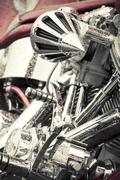 motorcycle chrome - stock photo